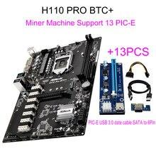 Nouveau Pour ASRock H110 PRO BTC + 13 Pcs Riser Card Pour BTC Mineur Bitcoin Machine Soutien 14 Graphique 1151 l'exploitation minière Carte Mère 13 PCIE