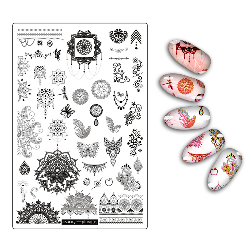 Flower Leaf Butterfly Floral Butterfly Pattern Nail Art Stamping Plate New Arrival Mandala Series DIY Manicure Template Stencil diy rectangular lattice pattern metal stencil plate carbon steel cutting die