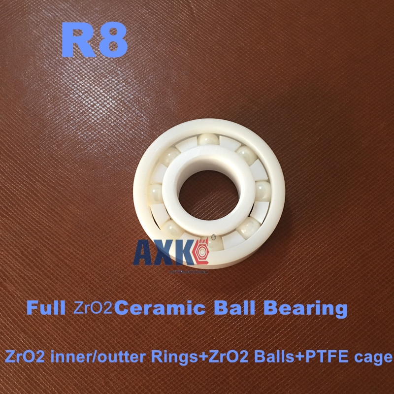Free Shipping CE R8 ZrO2 FC  ABEC3  12.7x28.575x6.35  ZrO2 Full Ceramic Bearings  Full Complement