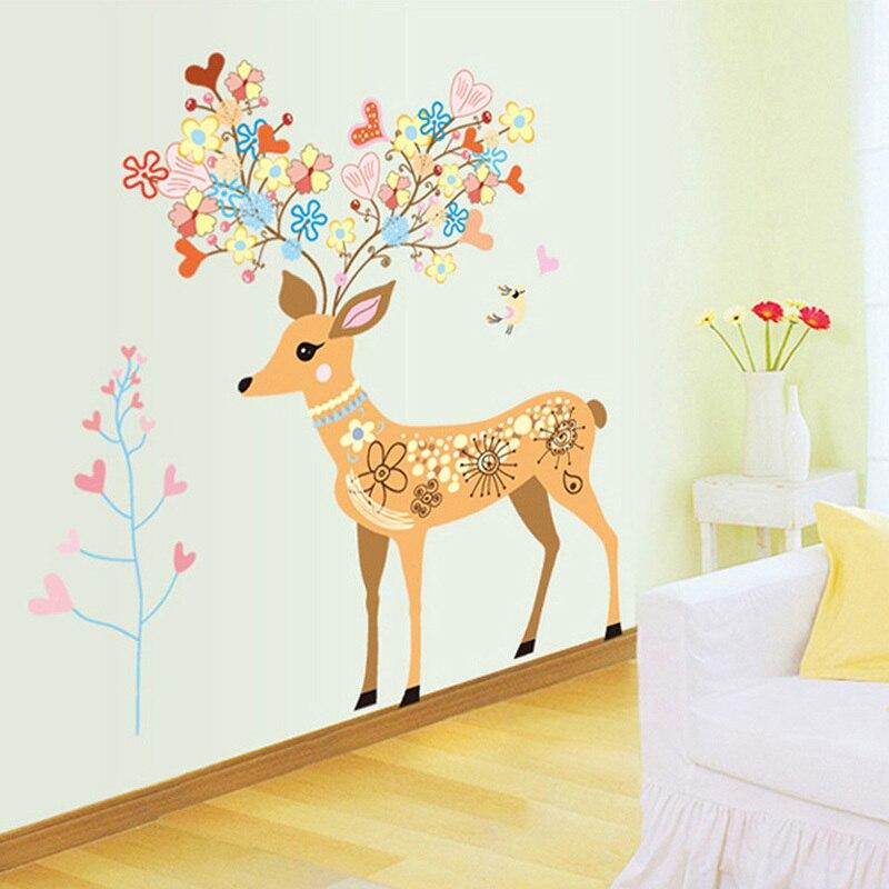 3d art sticker enfants chambre enfants fleur cerfs mur With affiche chambre bébé avec fleurs en gros lyon
