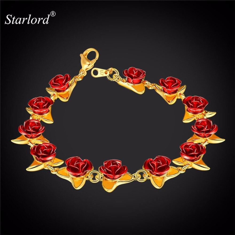 Rosa flor pulsera delicada 3D Floral pulsera de dama de honor/novia pulsera regalo amor flor pulsera para las mujeres H2831
