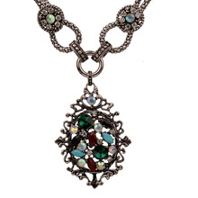 Bohemian Exaggerated Big Hollow Oval Colorful Crystal Statements Necklace For Women Retro Vintage Costume Necklaces Jewelry chic rhinestone faux crystal oval necklace for women