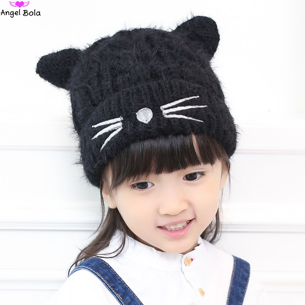 [AngelBola] 2017 Korean Fashion Autumn And Winter New Cat Knitting Children Cap Wool Hat Knitted Printing Hat C-075 the new children s cubs hat qiu dong with cartoon animals knitting wool cap and pile