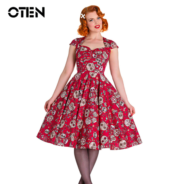 OTEN Zomer skater jurk elegante Vintage Rode Baljurk Suiker Schedels bloemenprint 50 s rockabilly Avond Party grote maat kleding