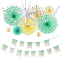 Birthday Party Decoration Set Paper Star Lantern Mint Gold Foil Happy Banner Circle Garland Kids Adults