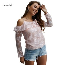 Diwish Blouses Woman 2019 Sweet Floral Long Sleeve Lace Blouse Cross Spaghetti Strap Cold Shoulder Pink Blouse Ladies Tops