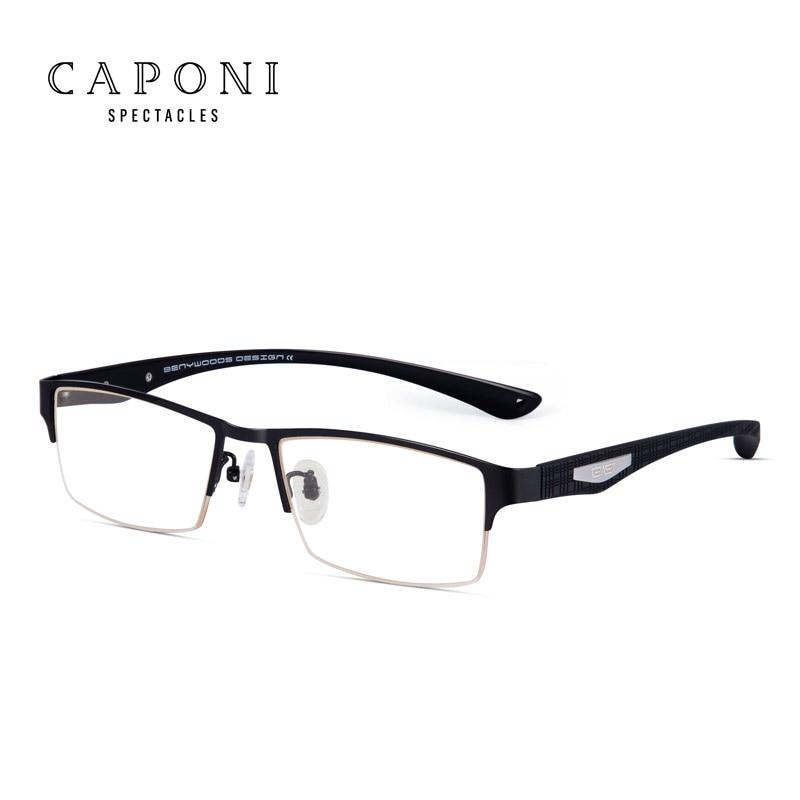 Caponi hommes titane lunettes cadre pour lunettes pour hommes clair lentille Flexible TR90 Temples Semi jante optique cadre 9019