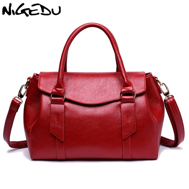 NIGEDU Branded Women Handbags Simple Fashion PU Leather Handbag Casual Crossbody Shoulder Bag for Lady Totes Big bolsa feminina