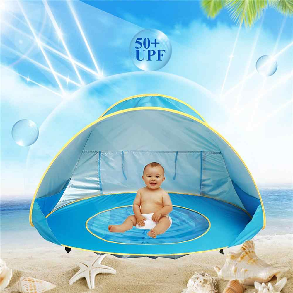 Children's Tent Waterproof Pop Up Baby Beach Tent UV-protecting Sunshelter with Pool Kids Outdoor Camping Sunshade Beach Tent