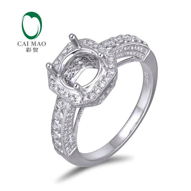 Vintage puede sostener 7.5 mm corte redondo Gem Stone 14 k oro blanco diamante del contrato del anillo de bodas