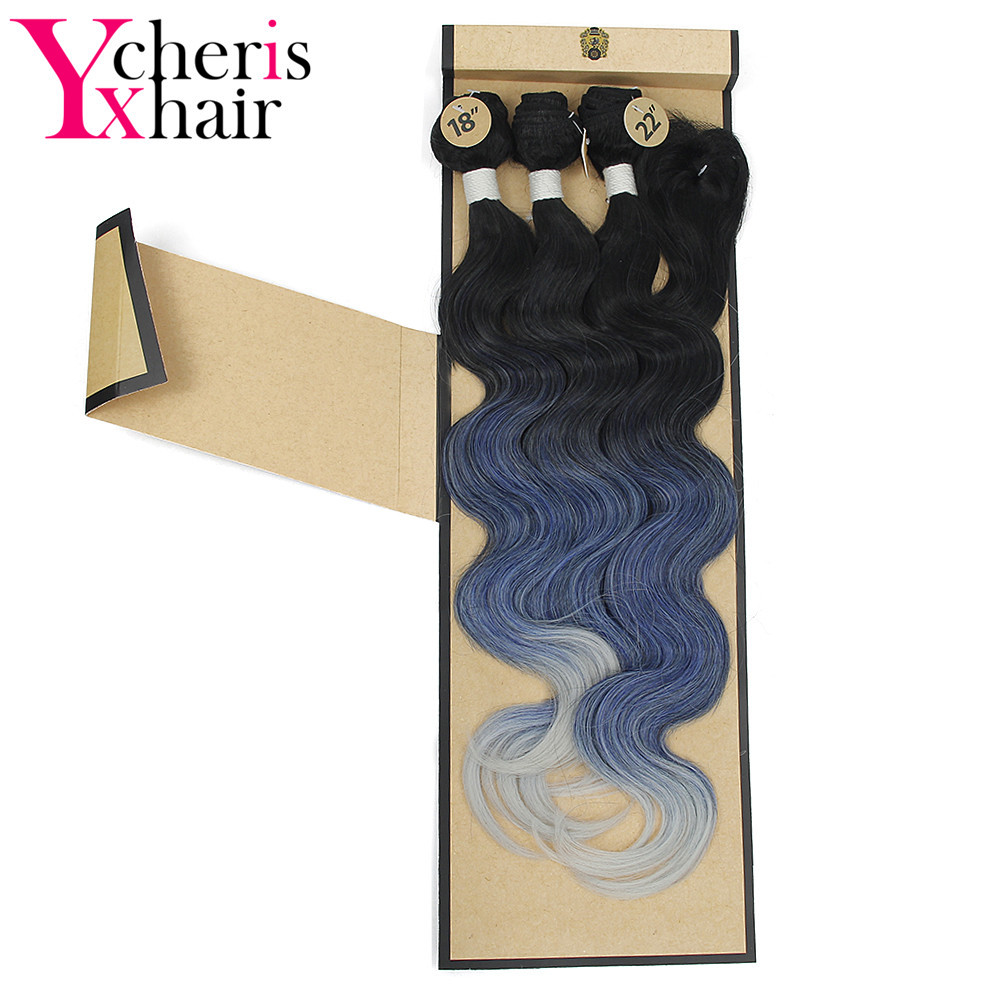 "(4PCS/LOT) 18-22"" Ombre Green Blue Synthetic Brazilian Natural Body Wave Hair 3 Bundles with a Free Lace Closure YXCHERISHAIR"