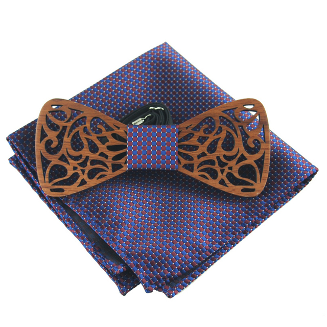 57755cbf792f RBOCOTT Fashion Novelty Paisley Wooden Bow Tie And Handkerchief Set Men's  Plaid Bow Tie Wood Hollow