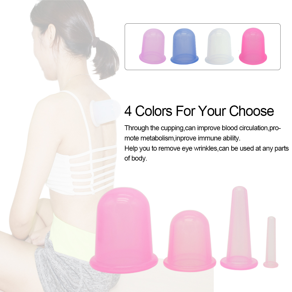 4pcs/Set Suction Silicone Massage Cupping Anti-Cellulite Cups Facial and Body Therapy Improving Skin and Overall Health 4 Colors 4pcs body anti aging effect suction silicone massage cupping therapy improving skin health anti cellulite cups small size