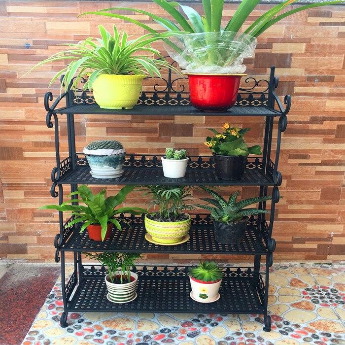 Continental folding multi layer iron flower rack floor style balcony bonsai metal shelf