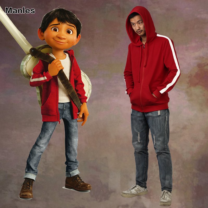 Coco Miguel Rivera Cosplay Costume Red Hoodie Jacket Cartoon Coat Hood New Year Clothes Movie Outfit Halloween Clothing Adult
