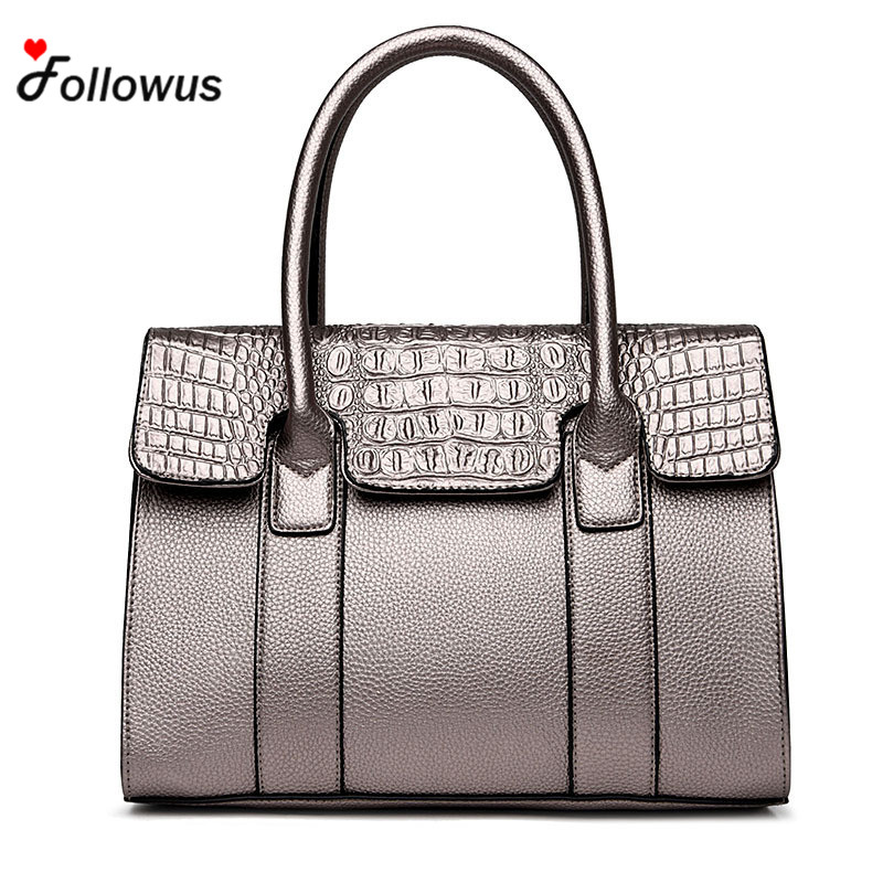 2017 New Fashion Embossed Handbag Women Crocodile Pattern Tote Bag Messenger PU Leather  Cross Body OL Shoulder Bags 2016 fashion spring and summer crocodile pattern japanned leather patent leather handbag one shoulder cross body bag for women