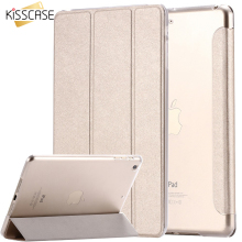 KISSCASE For iPad Mini Air 2 Case Luxury Silk Leather Transparent Flip Case For iPad Air 2 1 Mini 4 3 2 1 Stand Full Cover Capa