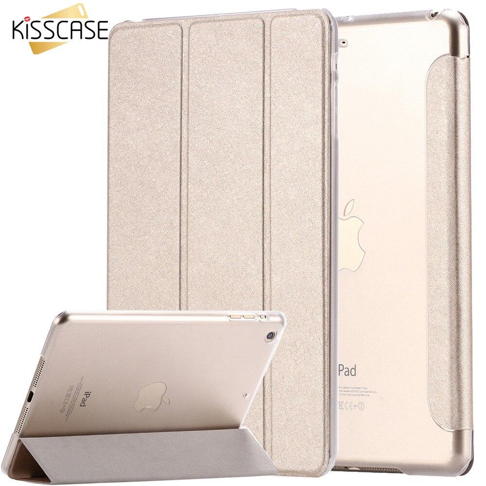 KISSCASE For iPad Mini Air 2 Case Luxury Silk Leather Transparent Flip Case For iPad Air 2 1 Mini 4 3 2 1 Stand Full Cover Capa защитная пленка для ipad mini 2 3 4 vivanco 35578 transparent