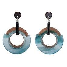Earing Ins Acrylic Earings Wood Earrings for Women Jewelry Brincos Oorbellen Pendientes Mujer Moda 2019 Brinco boucle doreille