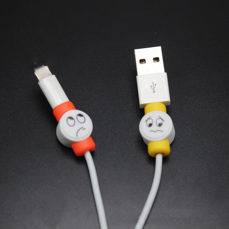 official photos f8cca 1d4e5 US $1.78 20% OFF 10pcs/lot Cute Face USB Charger Cable Protector Colorful  Earphones USB Data Cable Cover For iPhone Samsung HTC Free shipping-in  Cable ...