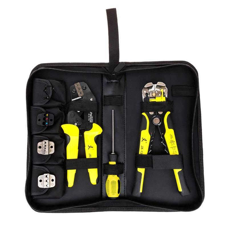 Multi Tools Wire Crimper Engineering Ratchet Terminal Crimping Pliers Wire Crimper+Wire Stripper+ S2 Screwdriver Tools Kit Set newacalox multifunction self adjustable terminal tool kit wire stripper crimping pliers wire crimp screwdriver with tool bag