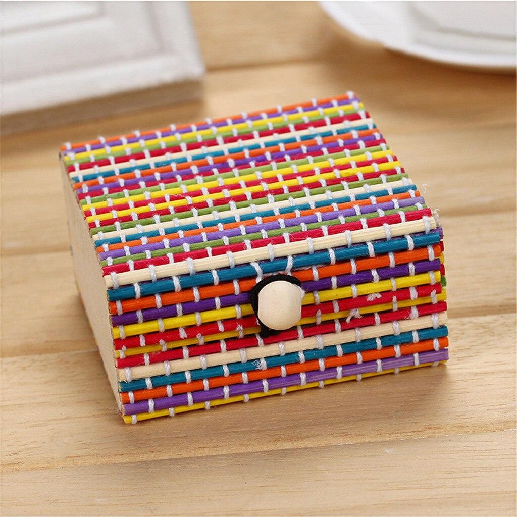 Image 5 - Bamboo Wooden Desktop Storage Basket Sundries Container Jewelry Organizer Storage Box Strap Craft Square Case Organizer Cases-in Storage Boxes & Bins from Home & Garden
