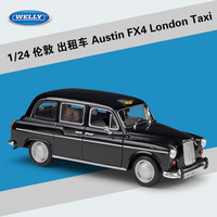 Welly Diecast 1:24 Classic High Simulator Metal Model Car Austin FX4 London Taxi Alloy Toy Car Toys For Children Gift Collection