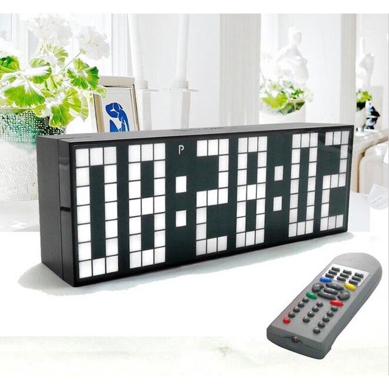 Große Big Jumbo LED Uhr Display Tisch Schreibtisch Wand Alarm Fernbedienung Kalender Digital Timer LED Uhr Blau Uhr-in Wanduhren aus Heim und Garten bei  Gruppe 1
