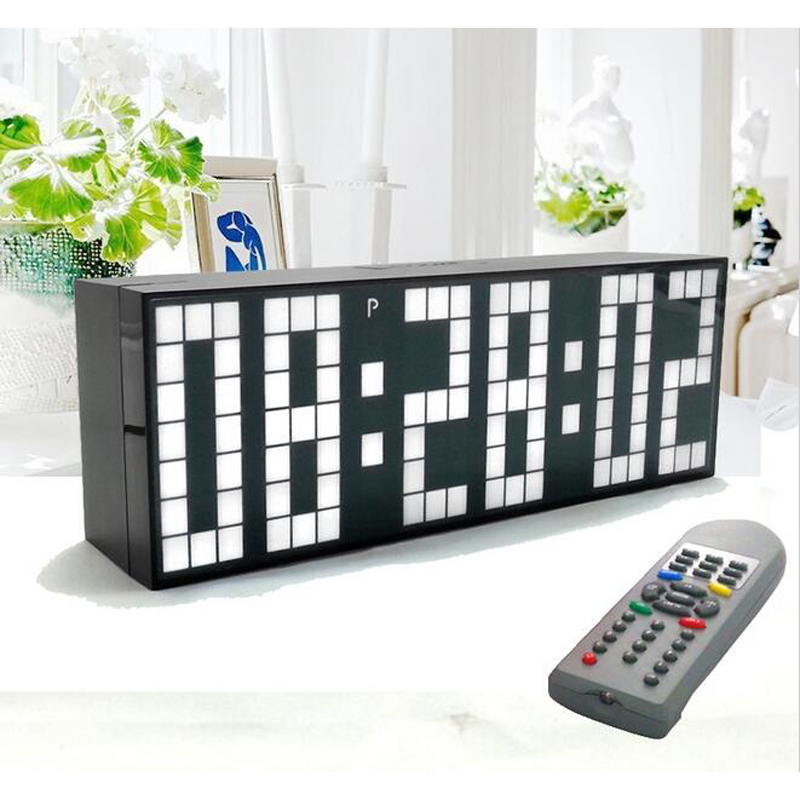 큰 큰 점보 led 시계 디스플레이 테이블 책상 벽 알람 원격 제어 달력 디지털 타이머 led 시계 블루 시계-에서벽결이 시계부터 홈 & 가든 의  그룹 1