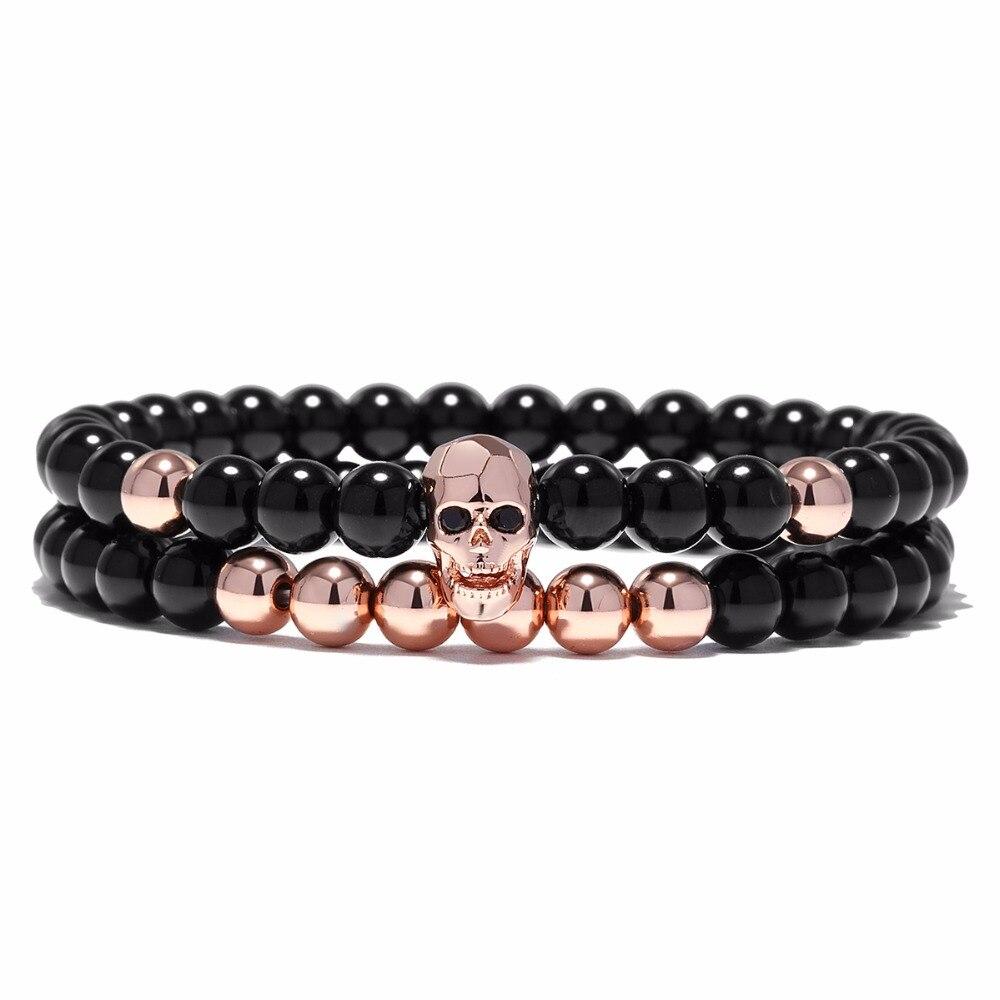 YUXI Steampunk Metal Smile Skull Bracelets Set Elastic Black Beads Chain Skeleton Men Bracelets Sets Male Hand Accessories 2