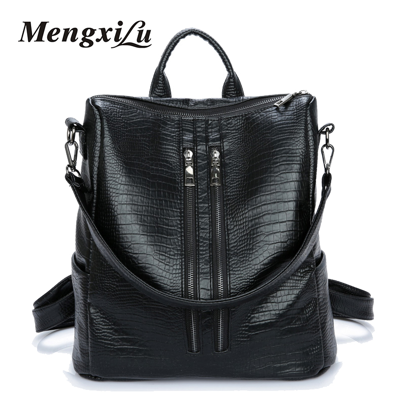 MENGXILU Fashion Women Backpacks High Quality Casual School Bags PU Leather Backpacks Teenage Girls Mochila Feminina Travel Bags doodoo fashion streaks women casual bear backpacks pu leather school bag for girl travel bags mochilas feminina d532