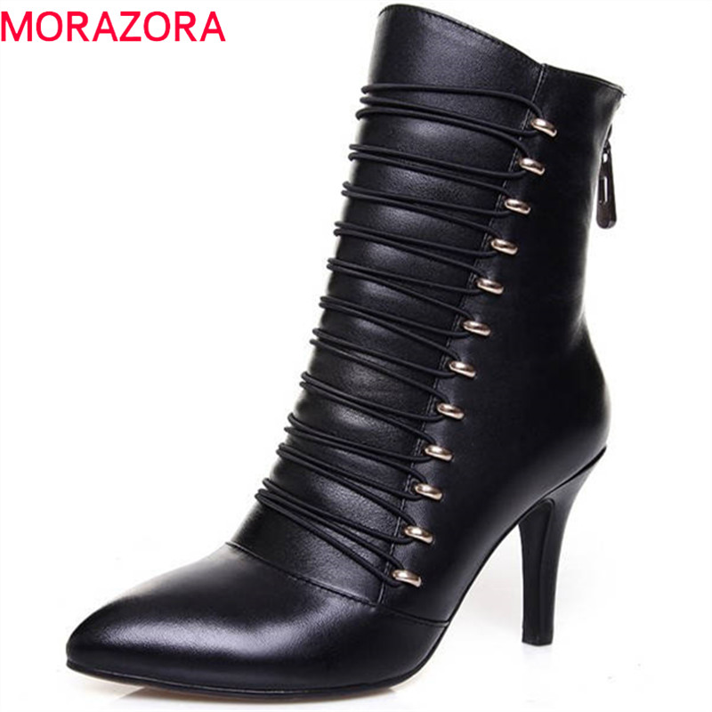 купить MORAZORA 2018 new style pointed toe short plush autumn winter boots zipper genuine leather ankle boots for women high heel shoes по цене 4419.84 рублей