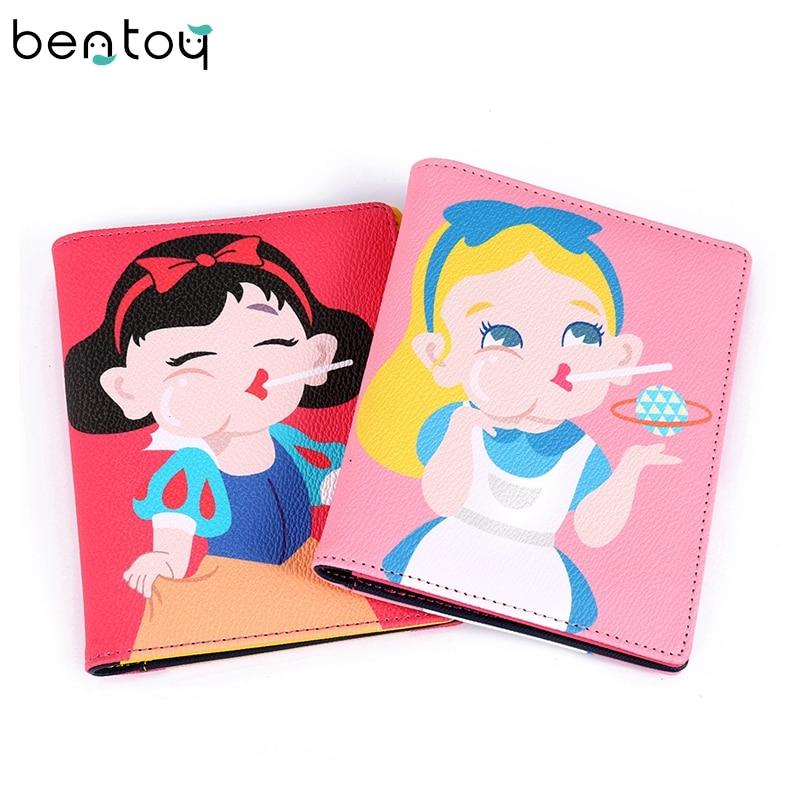 Bentoy tecknad söta kvinnor läder passa väskor vackra tjejer ID rese passport hållare kort pass passet