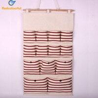 13 Pocket Folding Door Hanging Bag Wall Fabric Closet Hanging Storage Bag Organizer Makeup Sundries Storage
