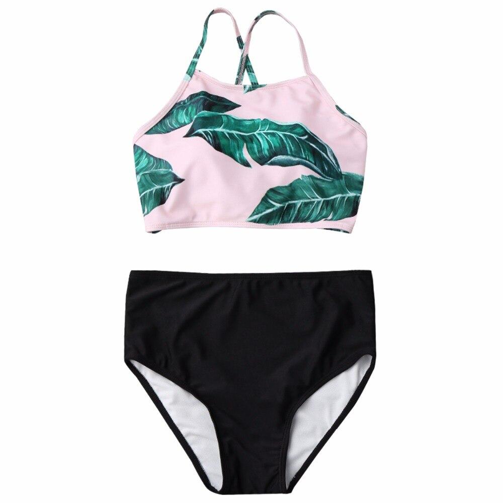 Puseky 2017 горячей продажи Выдалбливают лист печать бикини женщин спортивные с низкой талией из двух частей купальник сексуальная холтер пляжная майка