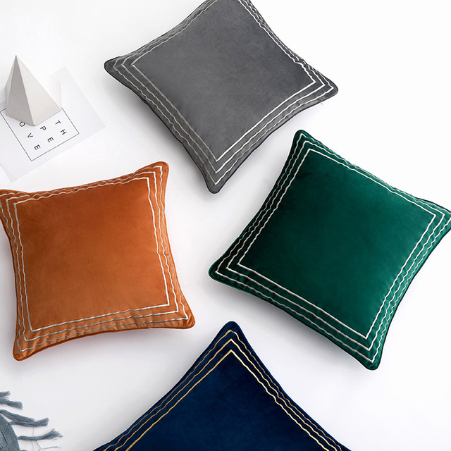 Light extravagance flannelette embroidered cushion cover solid decorative pillow cover home sofa bed hotel office car pllowcase