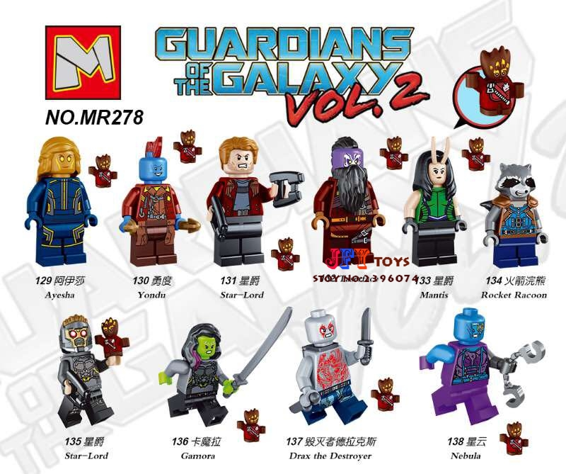 Single super heroes marvel Guardians of the Galaxy Vol. 2 Rocket  Yondu building blocks toys for children kit brinquedos guardians of the galaxy new guard vol 3