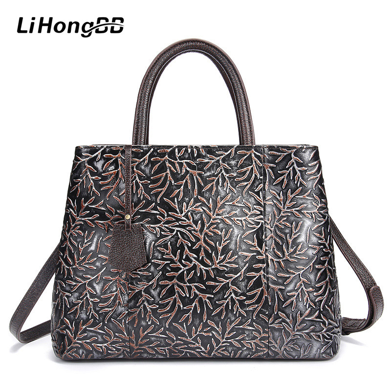 Famous Brand Women Floral Printing Handbag Genuine Leather Fashion Shoulder Bag Vintage Female Tote Bags Large Bolsa Feminina