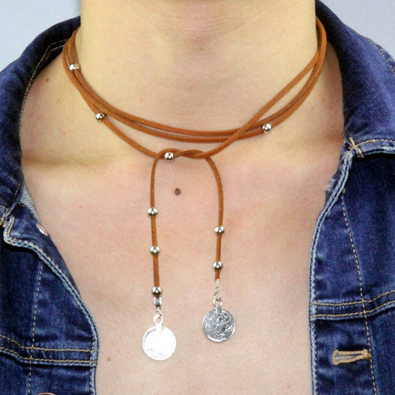 x261 Long Necklaces Black Brown Leather Choker Necklaces Coin Pendant Necklace for Women Bohemian Style Fashion Jewelry Hot Sale