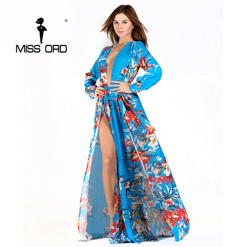 Free shipping Missord 2017 Sexy V neck Long Sleeve split printing dress beach dress FT2294