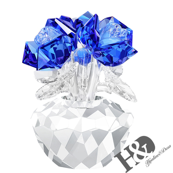 H&D Blue Crystal Rose Bouquet Flowers Figurines Ornament with Gift box Wedding Anniversary Valentine's Day Christmas Gift