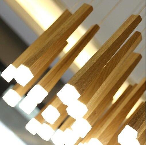 33 cm barre de bois verticale plafonniers pour escalier, ilot de cuisine, abat-jour Cube acrylique 4x4 cm