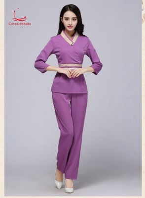 Cosmetologist work clothes spring health club beauty suit beauty salon long sleeve foot bath technician