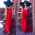 Holiday chiffon pants jumpsuits women summer even clothes even body wide-legged pants condole height red pants