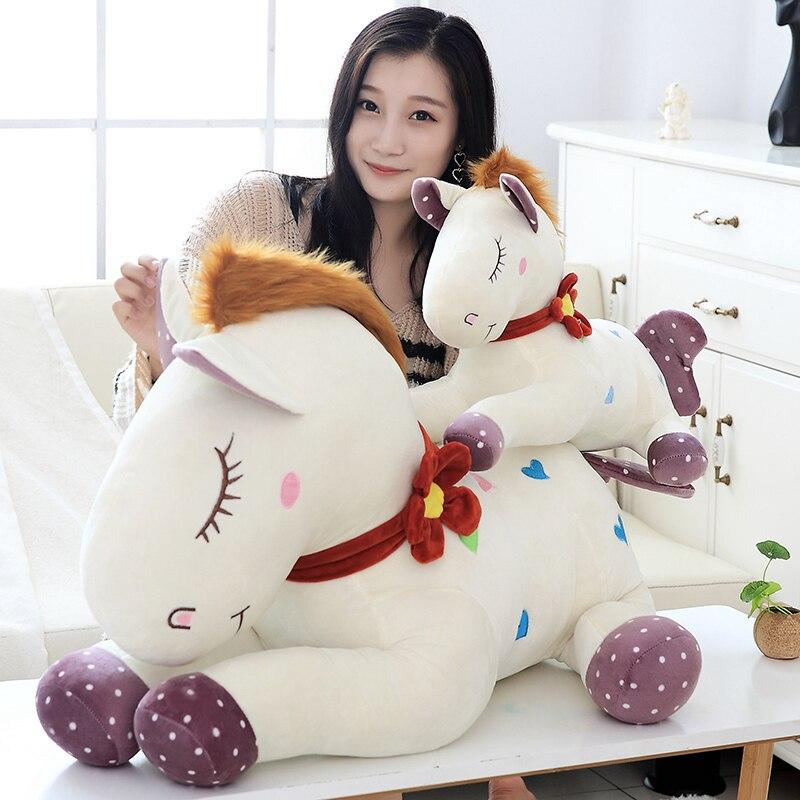 lovely 55 95cm stuffed animal horse plush toy Soft Stuffed horse Doll Toys Kids Birthday Gift