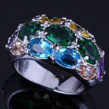 Incredible Oval Multigem Multicolor Green Cubic Zirconia 925 Sterling Silver Ring For Women V0586