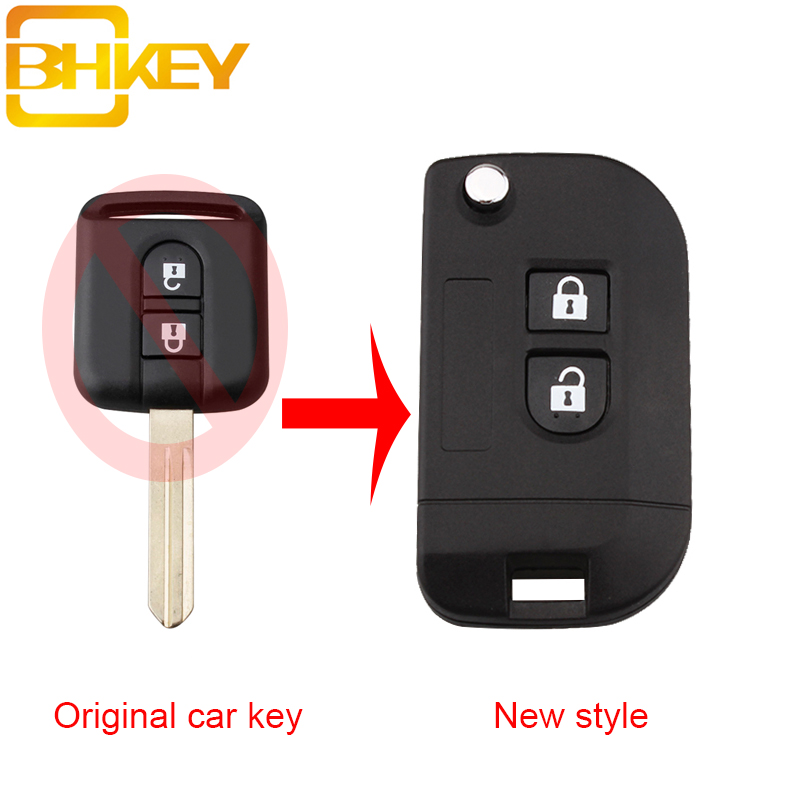 BHKEY Modify Remote Car Key Refit Case Shell For Nissan Qashqai Elgrand X-TRAIL Navara Micra Note Cabster NV200 Keys