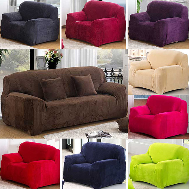 9 Solid Pure Color Thickened Plush Couch Stretch Sofa
