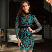 2018 New Bandage Dress Long Sleeve Hollow Out Celebrity Lace Evening Party Dresses Sexy Club Vestidos Ladies Clothing