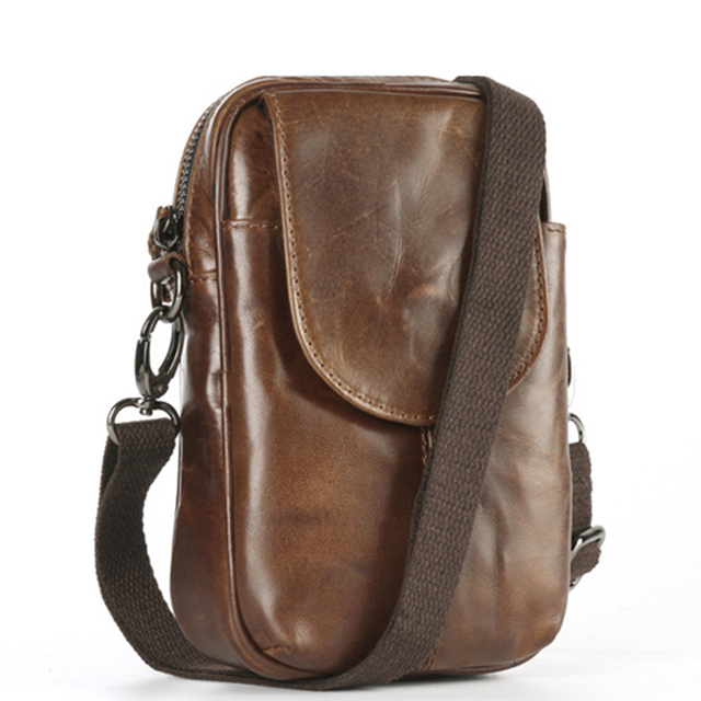 ab975ce5c537 Oil Wax Cowhide Men Sling Crossbody Bags Cell Phone Case Waist Belt Purse  Pouch Genuine Leather Small Shoulder Messenger Bags